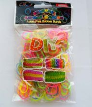Loom Bands. Rainbow. Refill pack of 300 with hook & 'S' Clips.